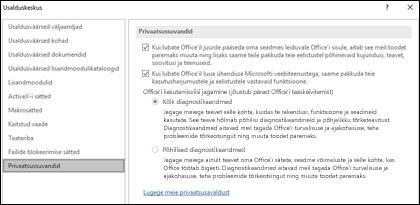 Office for Windowsi usalduskeskuse jaotis privaatsussuvandid