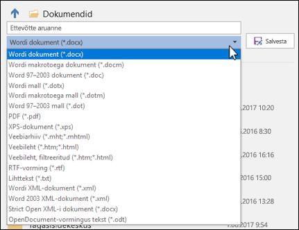 Oma dokumendile muu failivormingu valimiseks klõpsake failitüübi ripploendit.