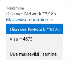 Leht Teenused ja tellimused, millel on Office 365 koduversiooni jaoks kuvatud rippmenüü Makseviisi muutmine.