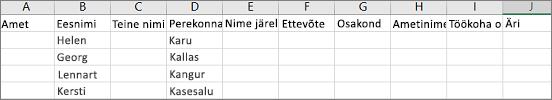 Excelis avatud Outlooki CSV-faili näide