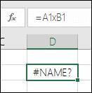 Viga #NAME?, mis ilmneb siis, kui lahtriviidetes kasutatakse korrutamiseks märgi * asemel märki x