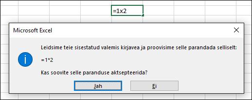 Teateboks, milles palutakse korrutamiseks asendada märk x tärniga (*)