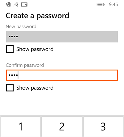 Create password on Windows Phone