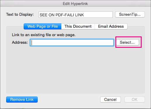 Kuvab dialoogiboksi hüperlingi lisamine rakenduses PowerPoint 2016 for Mac