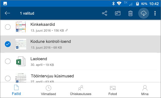 OneDrive'i failide ühenduseta kasutuseks märkimine