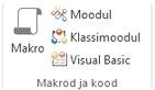 Pilt lindist Accessi jaotisega Makrod ja kood