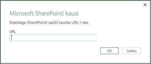 Exceli Power BI dialoog SharePointi kausta konnektori jaoks