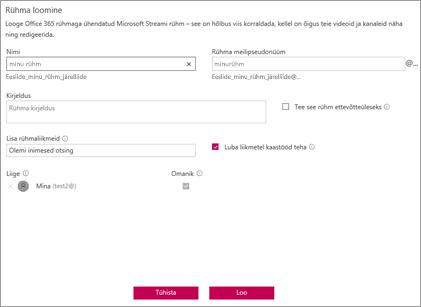 Kuvatõmmis: Microsoft Streami rühmanimepoliitika blokeeritud näidis