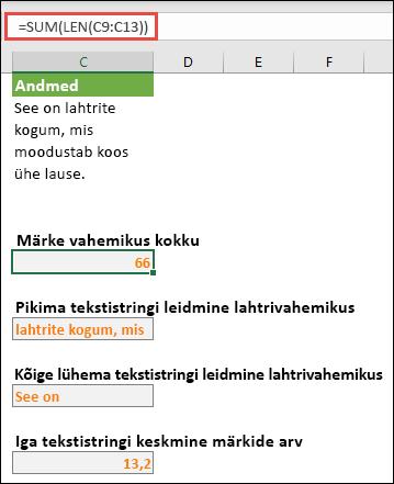 Märkide koguarvu loendamine vahemikus ja muud massiivid tekstistringidega töötamiseks