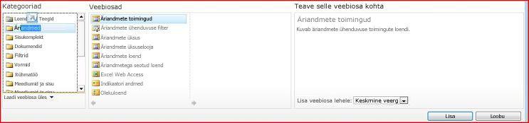 Veebiosavalijas on kuvatud Excel Web Accessi veebiosa