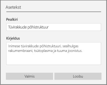 OneNote for Windows 10 aseteksti dialoog aseteksti lisamiseks.