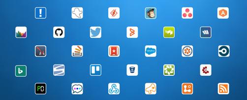 Kuvatud on järgmiste teenuste/rakenduste logod: Aha!, AppSignal, Asana, Bing News, BitBucket, Bugsnag, CircleCI, Codeship, Crashlytics, Datadog, Dynamics CRM Online, GitHub, GoSquared, Groove, HelpScout, Heroku, Incoming Webhook, JIRA, MailChimp, PagerDuty, Pivotal Tracker, Raygun,