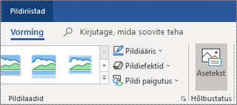 Outlook for Windowsi lindi nupp Asetekst.