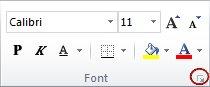 Dialoogiboksi käiviti jaotises Font