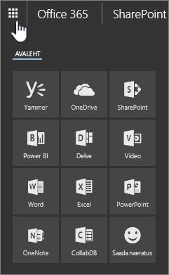Avatud SharePoint Online'i rakendusekäiviti, kus käiviti nupp on esile tõstetud