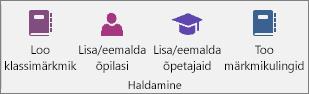 Klassimärkmiku vahekaardi haldusrühm.