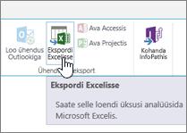 Lindil on esile tõstetud SharePointi Excelisse eksportimise nupp