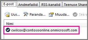 Konto Outlook 2013 dialoogiboksis Konto sätted
