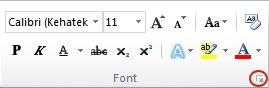 Dialoogiboksi Font käiviti