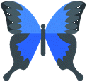Lõikepilt: sinine liblikas