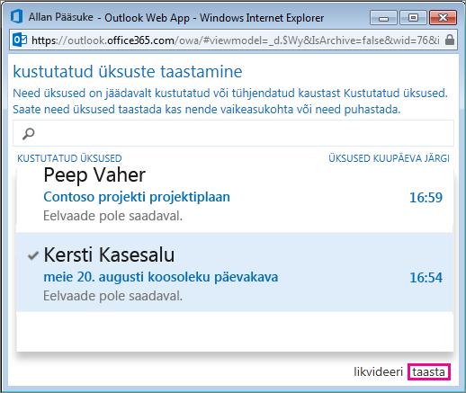 Dialoogiboks Kustutatud üksuste taastamine Outlook Web Appis