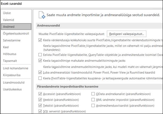 Fail on teisaldatud andmete suvandid > Suvandid > Täpsemalt jaotises uue vahekaardi andmed nimega fail > Suvandid.