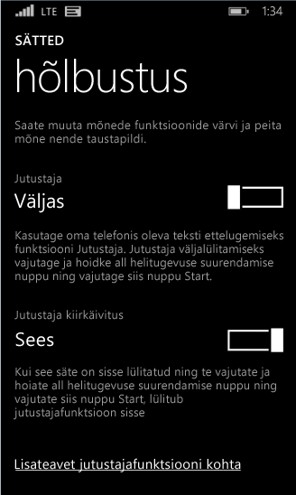 Windows Phone'i jutustaja sätted