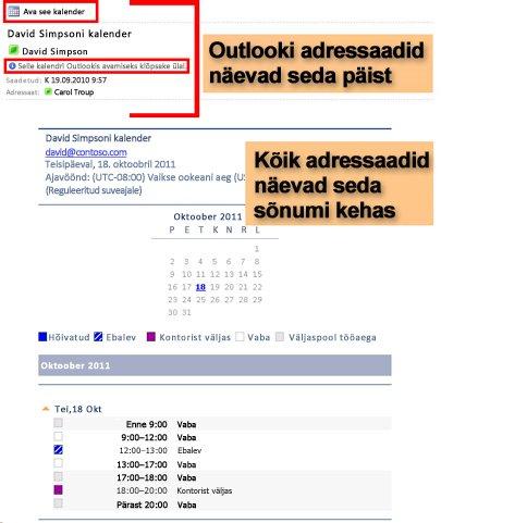 Kalendri e-posti saatmise funktsiooni abil vastu võetud kalendri näide