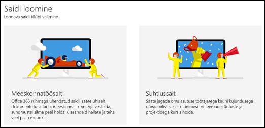 Saiditüübi valimine SharePoint Online'is