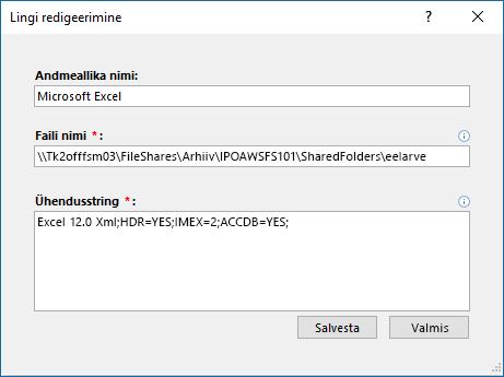 Andmeallika Exceli dialoogiboksi lingi redigeerimine