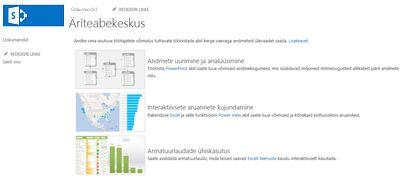 Äriteabekeskuse saidi avaleht teenuses SharePoint Online