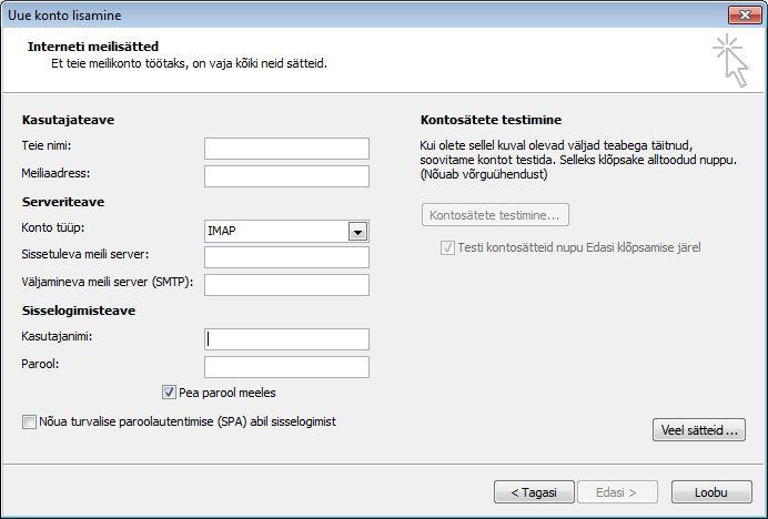 Rakenduse Outlook 2010 Interneti-meili sätted