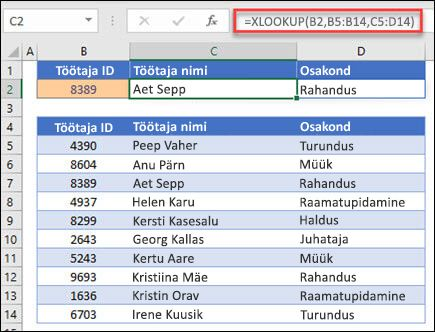 Näide töötaja IDt alusel töötaja nime ja osakonna tagastamiseks kasutatavast XLOOKUP. Valem on: = XLOOKUP (B2; B5: B14; C5: D14; 0; 1)