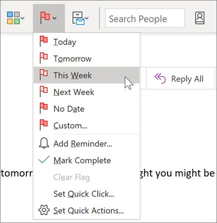 Sõnumi lipuga märkimine Outlooki järeltegevuseks