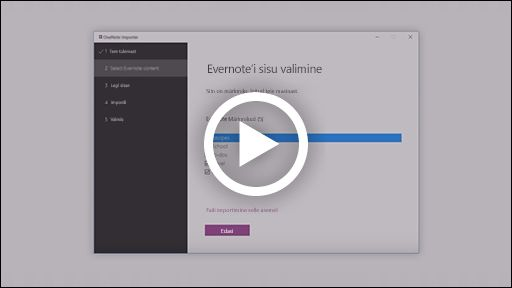 Video OneNote'i impordiriista kohta