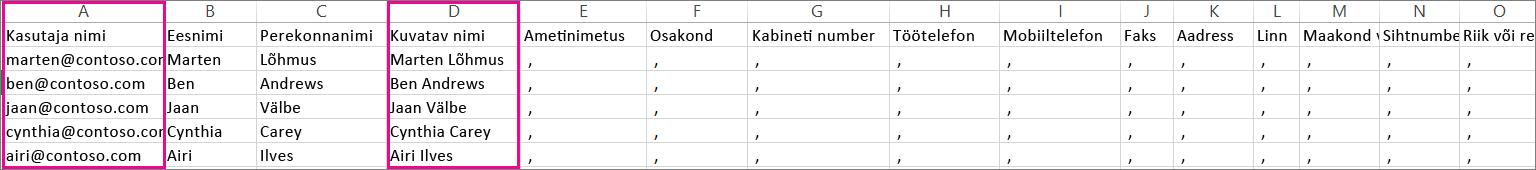CSV-faili näidis, kus on näidatud tühjad read