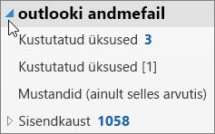 Outlooki andmefaili avamiseks valige selle kõrval olev nool.