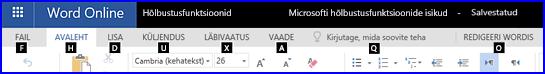 Lint Word Online'i redigeerimisvaates, kus kuvatakse kiirklahvid