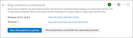 OneDrive ' i veebisaidil Kuva kõigi seadmete puhastamise pilt