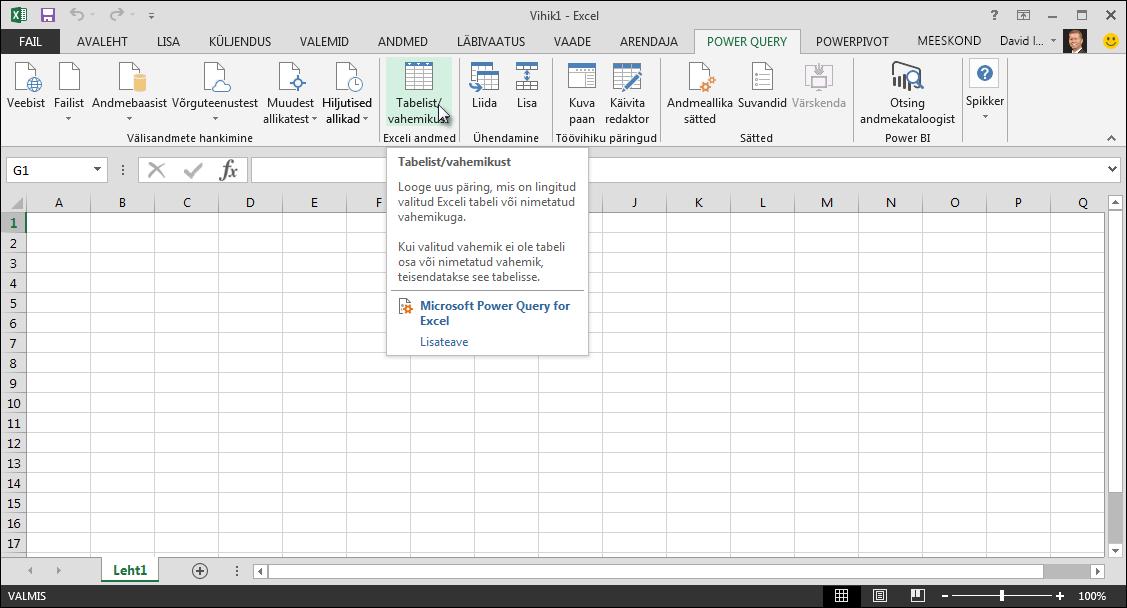 Exceli andmetabeliga ühenduse loomine