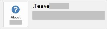 MSI installi nupu Teave Office'i kohta kuvatõmmis. See ei sisalda versiooni ega järgu numbrit