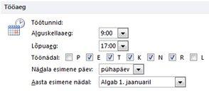Outlooki dialoogiboksi Suvandid jaotis Tööaeg