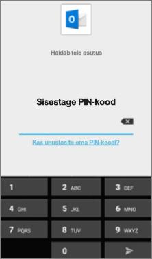 Sisestage oma Android-seadmes Office'i rakendustele juurdepääsuks PIN-kood.
