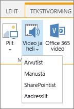 Video ja heli lisamise nupp redigeerimislindil