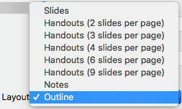 """Valige dialoogiboksis """"Print"""" (Printimine) paigutus """"Outline"""" (Liigendus)"""