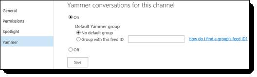 O365 videoportaali Yammeri sätted