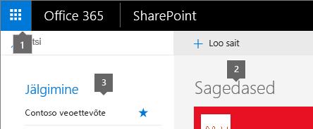 SharePoint Online'i avakuva vasak ülanurk.