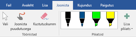Menüü Joonista tindipliiatsid ja markerid Office 2016-s