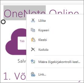 OneNote Online'i kontekstimenüü puuteseadmes