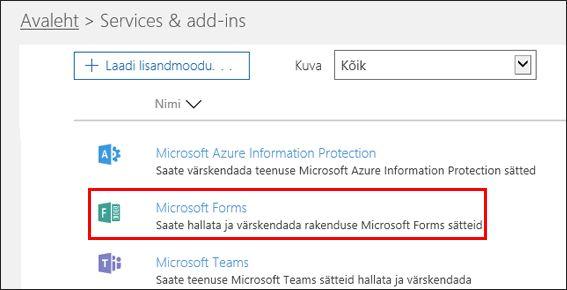 Microsoft Formsi haldussätted